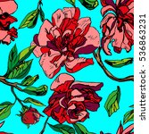 red floral pattern graphic ... | Shutterstock .eps vector #536863231