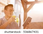 handsome short haired man... | Shutterstock . vector #536867431