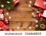 christmas decorations on a... | Shutterstock . vector #536868835