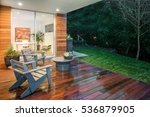 wooden deck   balcony at night... | Shutterstock . vector #536879905