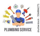 plumbing service concept with...   Shutterstock .eps vector #536886271