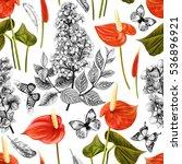 seamless tropical flowers... | Shutterstock . vector #536896921