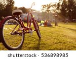 bike stands on green grass in... | Shutterstock . vector #536898985