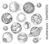 hand drawn sun  planets ... | Shutterstock .eps vector #536900551