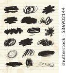 black stains  scribble hand... | Shutterstock .eps vector #536902144