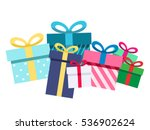 pile of gift boxes  presents... | Shutterstock .eps vector #536902624