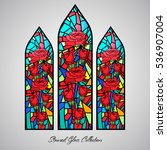 floral stained glass decorative ... | Shutterstock .eps vector #536907004