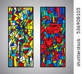rose collection stained glass... | Shutterstock .eps vector #536908105