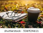 black cup of coffee  book and... | Shutterstock . vector #536924611