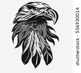eagle head with tribal feathers ... | Shutterstock .eps vector #536930014