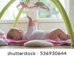 happy baby playing with hanging ... | Shutterstock . vector #536930644