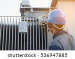 engineer or electrician working ... | Shutterstock . vector #536947885