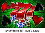 Stock vector casino chips poker signs and lucky seven font vector illustration 53695309