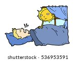 tired lazy man sleep in the bed ... | Shutterstock .eps vector #536953591