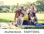 family picnic outdoors... | Shutterstock . vector #536972041