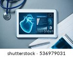 white tablet pc and doctor... | Shutterstock . vector #536979031