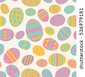 Multicolored Easter Eggs On A...