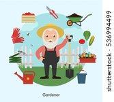 gardener in garden and... | Shutterstock .eps vector #536994499