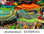 beaded jewelry at the market... | Shutterstock . vector #537009151