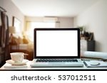 workspace with blank screen... | Shutterstock . vector #537012511
