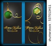 postcard    merry christmas and ... | Shutterstock .eps vector #537013411