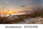 Sunset And Dune Grass In The...