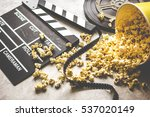 watching movie with popcorn on... | Shutterstock . vector #537020149