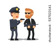 police officer pointing a gun... | Shutterstock .eps vector #537023161