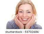 portrait of the joyful girl | Shutterstock . vector #53702686