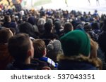 fans in the stadium supporting... | Shutterstock . vector #537043351