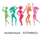 dancing girls. dance party... | Shutterstock .eps vector #537048421