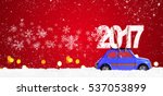 blue retro toy car delivering... | Shutterstock . vector #537053899