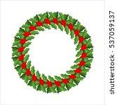 mistletoe wreath isolated.... | Shutterstock . vector #537059137