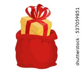 santa bag with gift. red big... | Shutterstock . vector #537059851