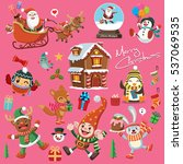 vintage christmas poster design ... | Shutterstock .eps vector #537069535