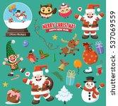 vintage christmas poster design ... | Shutterstock .eps vector #537069559