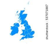 blue map of united kingdom | Shutterstock .eps vector #537071887