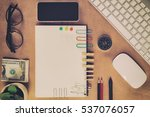 home office working space ... | Shutterstock . vector #537076057