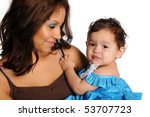hispanic mother and daughter... | Shutterstock . vector #53707723