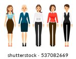 women in office dress code... | Shutterstock .eps vector #537082669