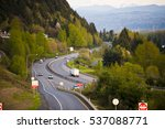winding road passing in the... | Shutterstock . vector #537088771