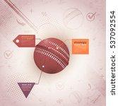 retro style cricket ball... | Shutterstock .eps vector #537092554