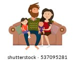 happy family on the couch | Shutterstock .eps vector #537095281