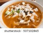 calamari and cotija cheese soup ... | Shutterstock . vector #537102865