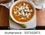 calamari and cotija cheese soup ... | Shutterstock . vector #537102871
