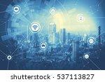 duo tone graphic of smart city...   Shutterstock . vector #537113827