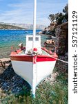 Small photo of Front view to small fishing boat on the aegean island Samos