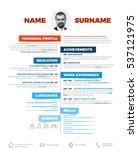 vector minimalist cv   resume... | Shutterstock .eps vector #537121975