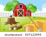 farm scene with tools in the... | Shutterstock .eps vector #537122995