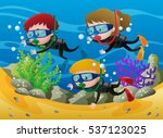 three kids scuba diving under... | Shutterstock .eps vector #537123025